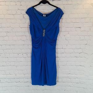 Roberto Cavalli blue sleeveless cocktail dress
